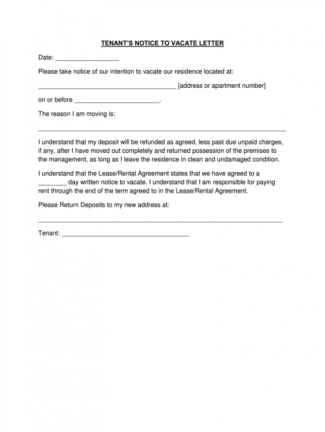Day Notice To Vacate Letter