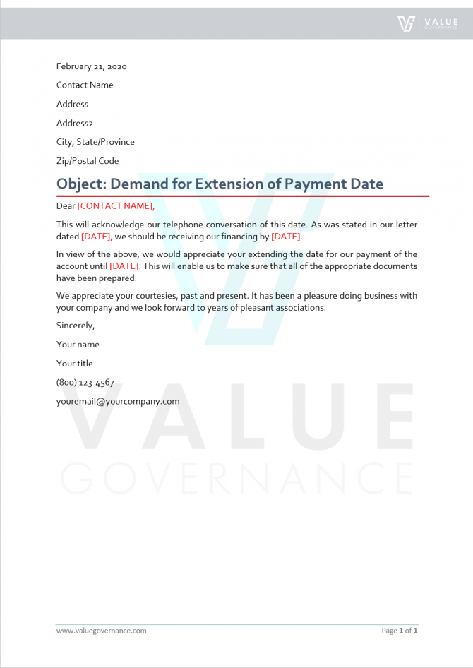 Demand For Extension Of Payment Date