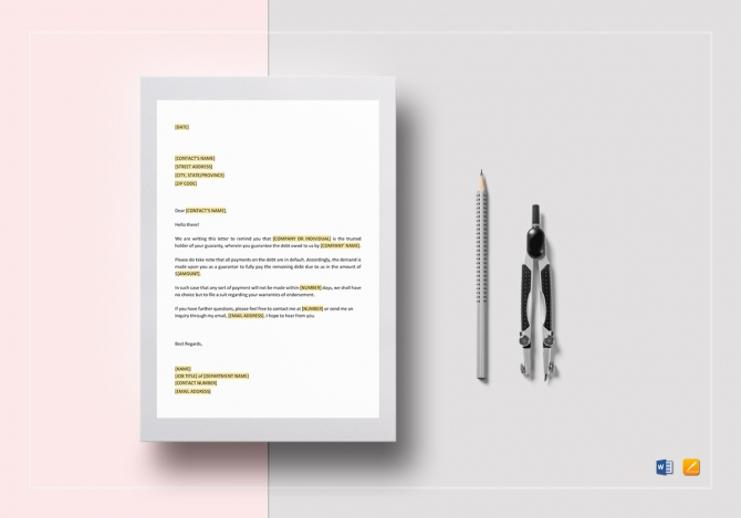 Demand On Guarantor Template In Word  Google Docs  Apple Pages