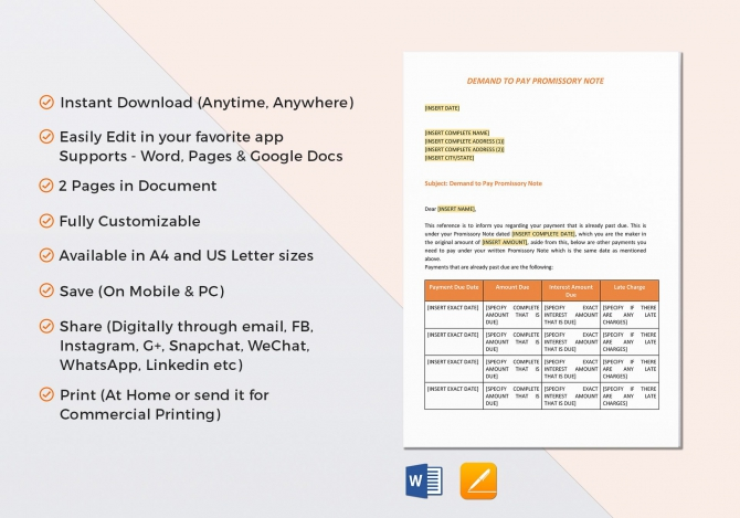 Demand To Pay Promissory Note Template In Word  Google Docs  Apple