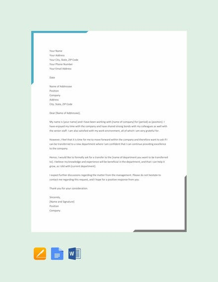 Department Transfer Letter Templates