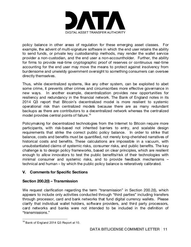 Digital Asset Transfer Authority Bit License Comment Letter