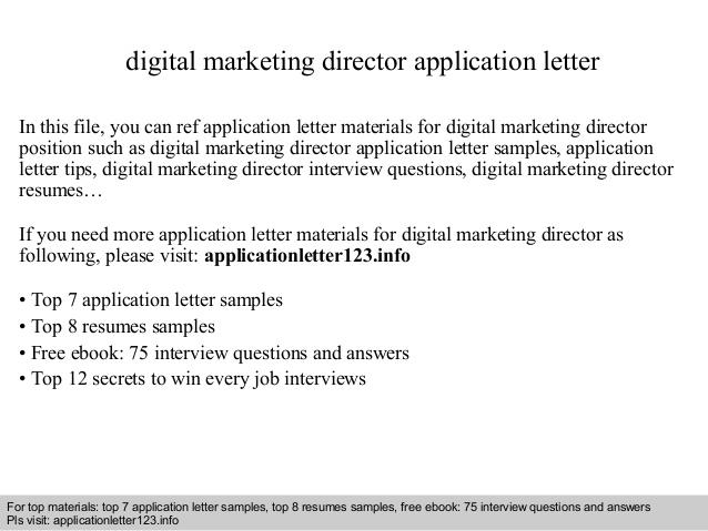 Digital Marketing Director Application Letter