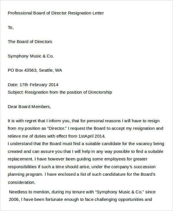 Director Resignation Letter Templates