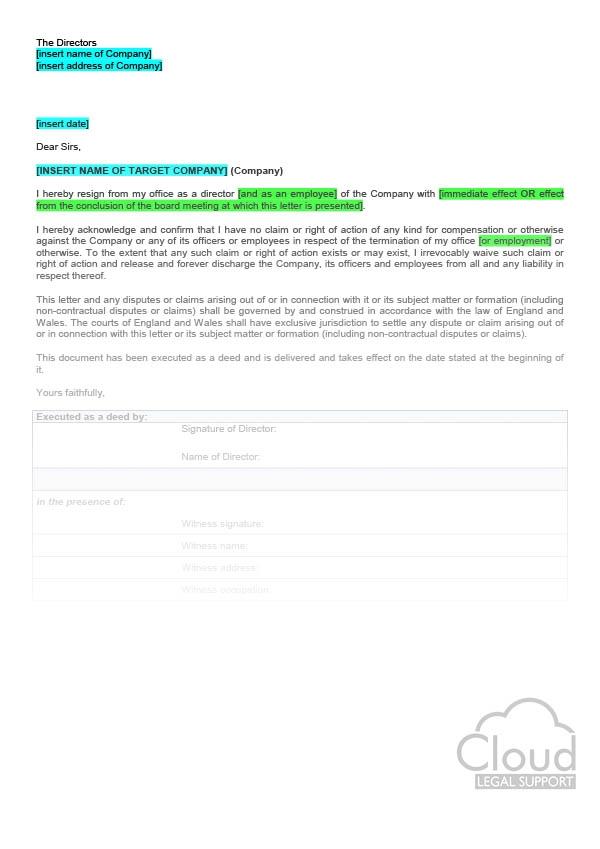 Directors Resignation Letter