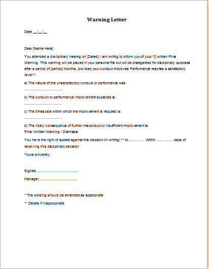 Disciplinary Action Final Warning Letter