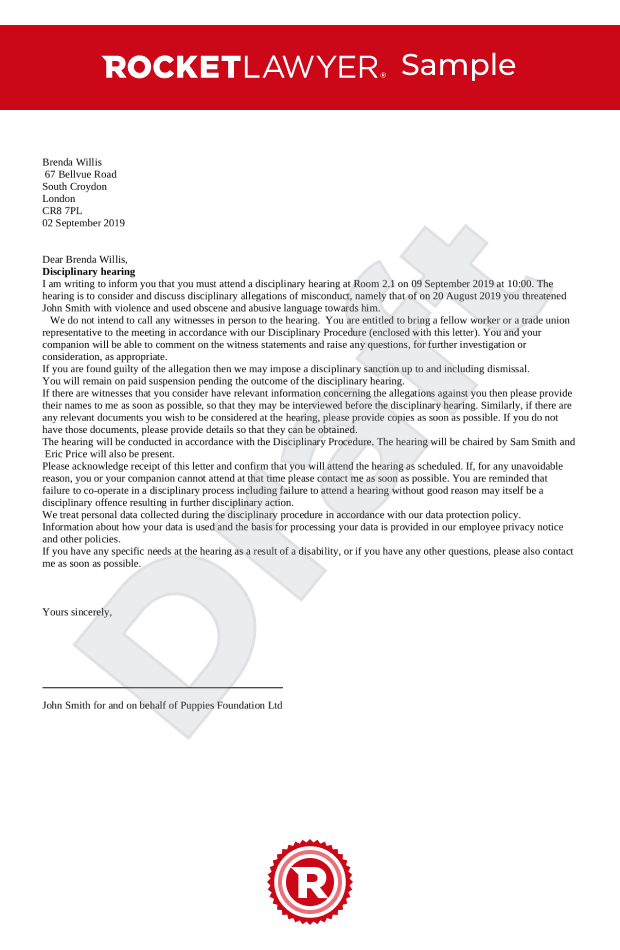 Disciplinary Hearing   Appeal Letters