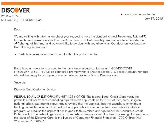 Discover Apr Reduction Denial Letter