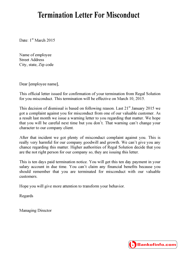 Dismissal  Termination Letter For Misconduct