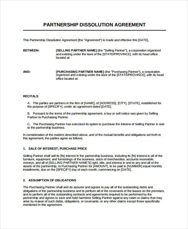 Dissolution Agreement Examples