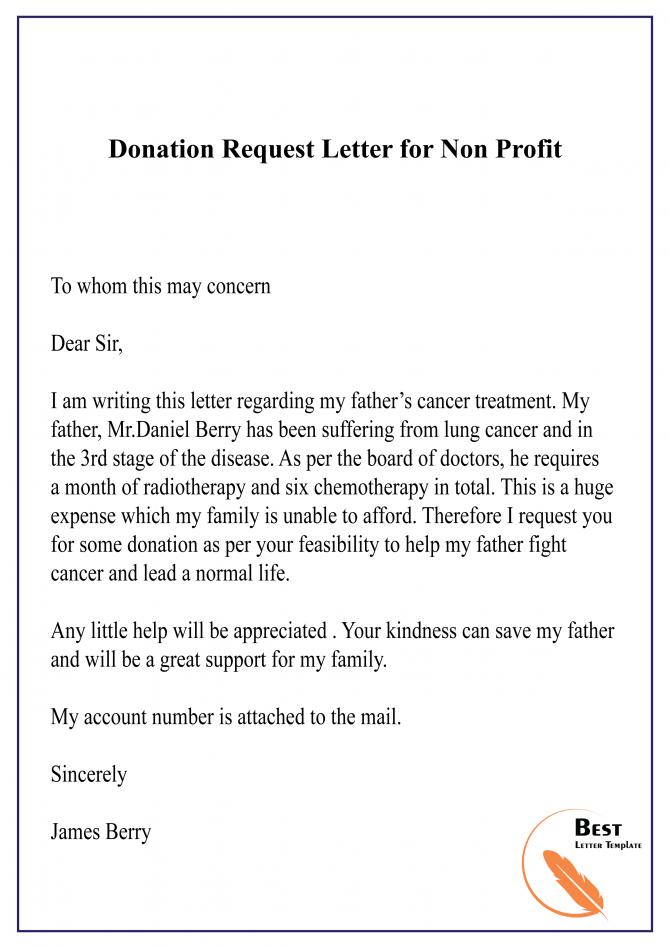 Donation Request Letter For Non Profit