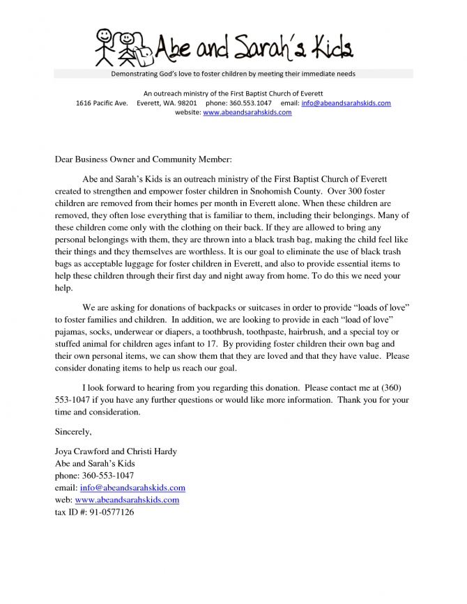 Donation Request Letter Word Doc