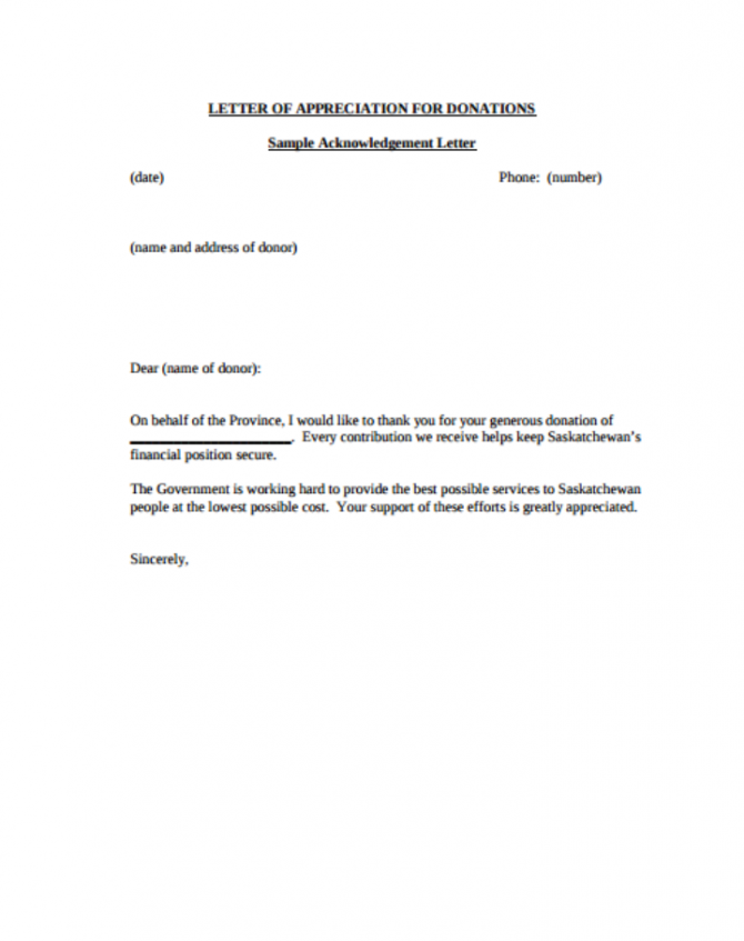 Donor Acknowledgement Letter Templates