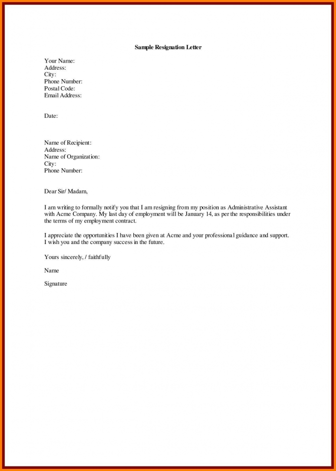 Download Unique Job Resignation Letter For Personal Reasons