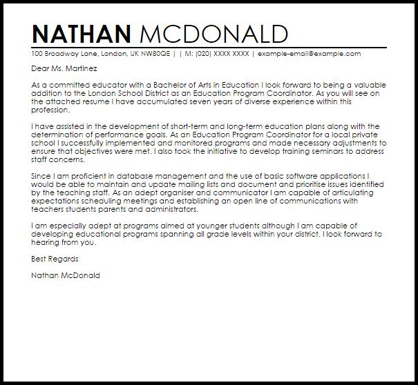 Education Program Coordinator Cover Letter Sample
