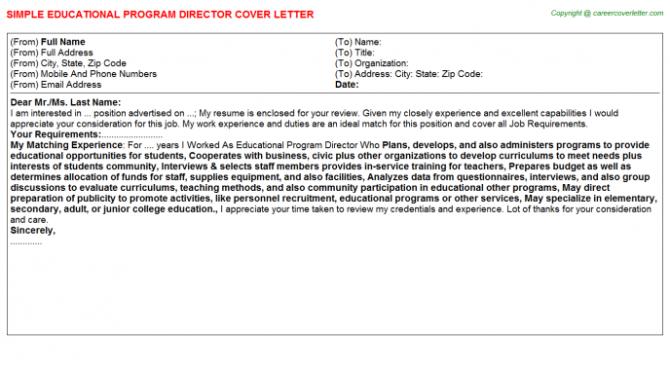 Educational Program Director Cover Letter