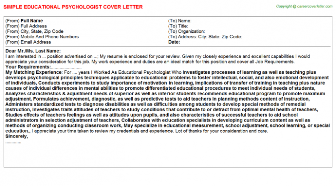 Educational Psychologist Cover Letters