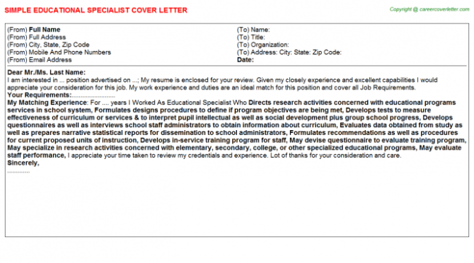 Educational Specialist Cover Letter