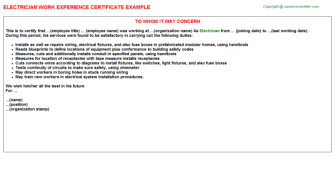 Electrician Experience Letter