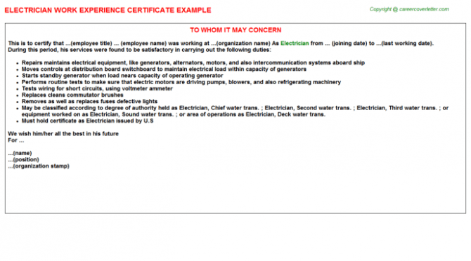 Electrician Experience Letters
