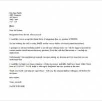 Email Resignation Letter Without Notice Period