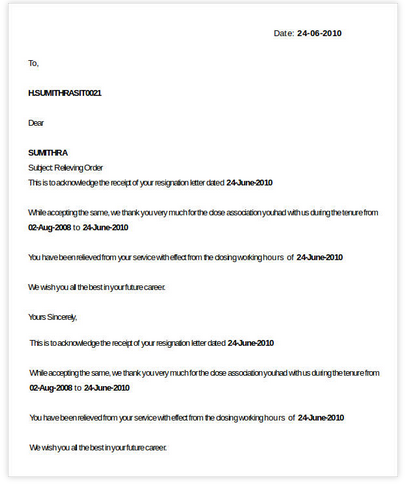 Employee Job Relieving Letter In Doc Format