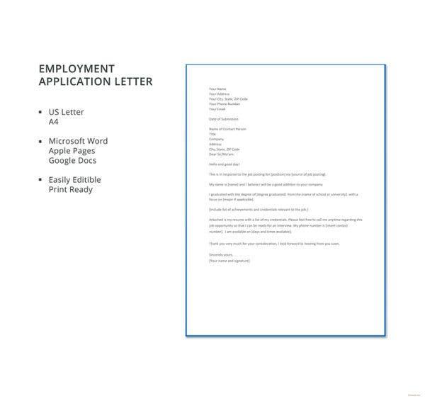 Employment Application Letters