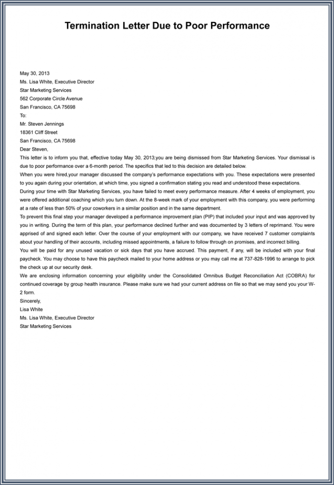 Employment Termination Letter Samples To Write A Superior Letter