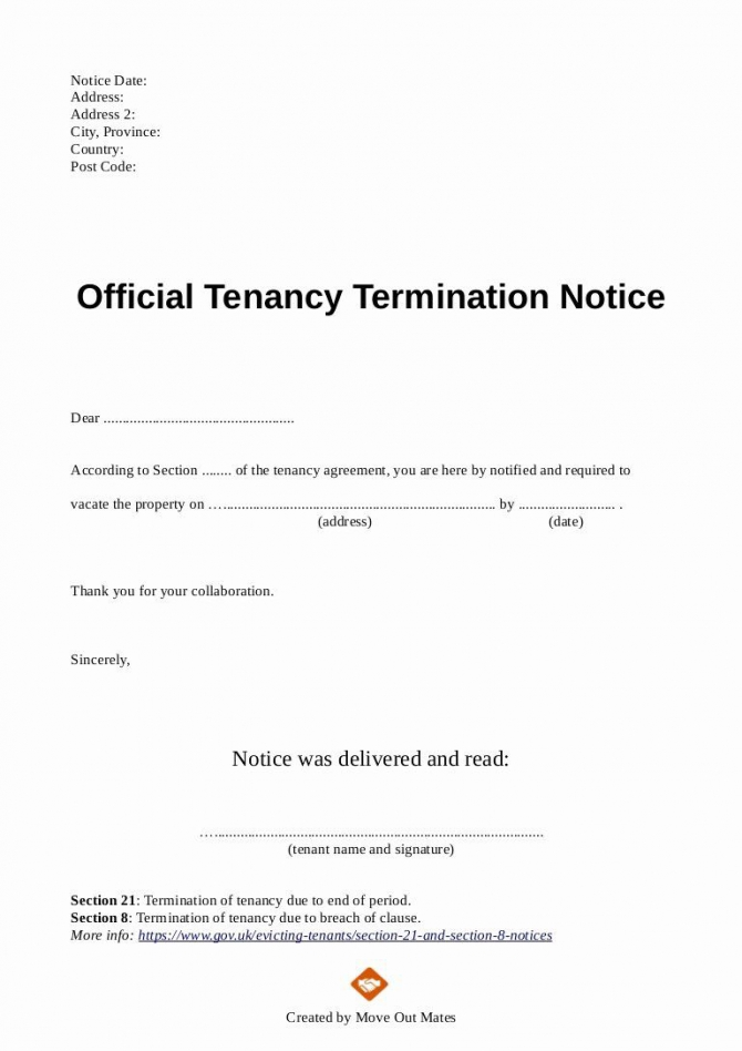 End Of Lease Letter