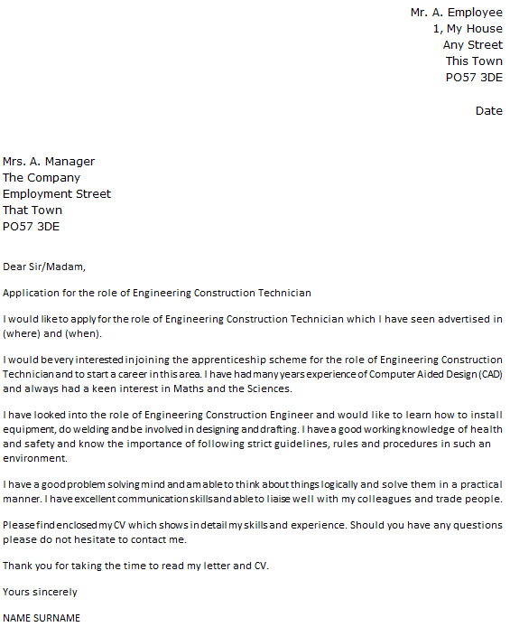 Engineering Construction Technician Cover Letter Example