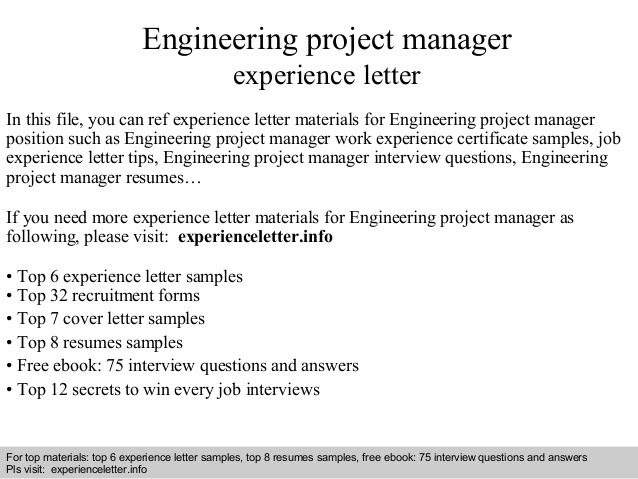 Engineering Work Experience Letter