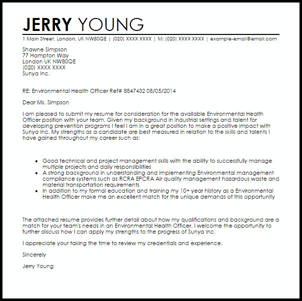 Environmental Health Officer Cover Letter Sample