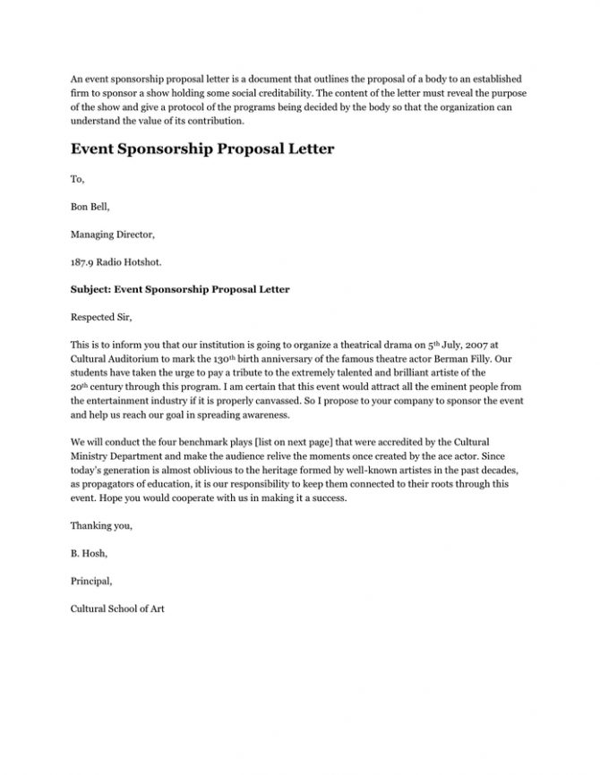 Event Sponsorship Proposal Letter In Word And Pdf Formats