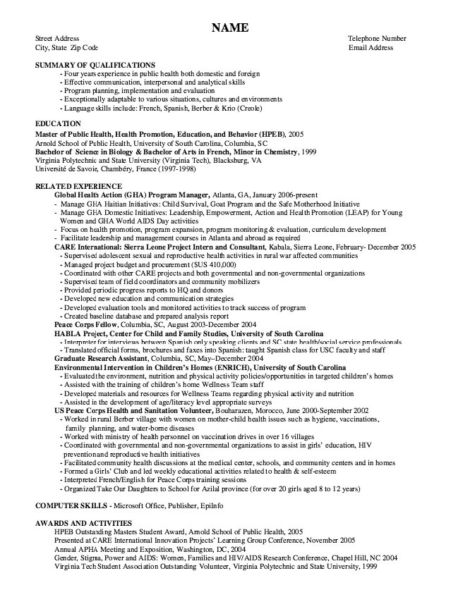 Example Of Health Education Promotion Resume