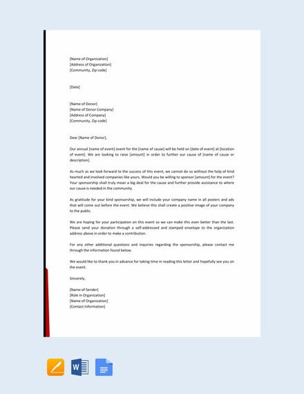 Examples Of Sponsorship Letters