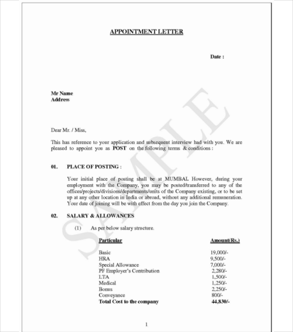 Examples On Job Appointment Letter For New Employees Pdf