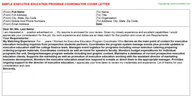 Executive Education Program Coordinator Cover Letter