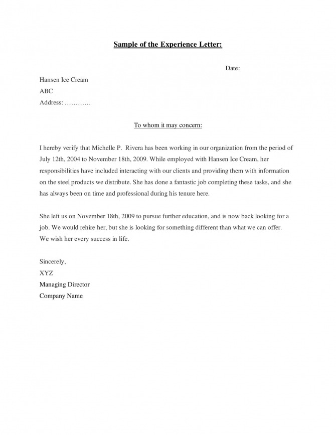 Experience Letter Templates In Pdf