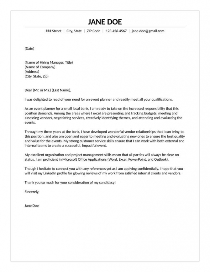 Experienced Event Planner Cover Letter