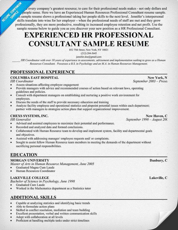 Experienced Hr Professional Consultant Resume Sample