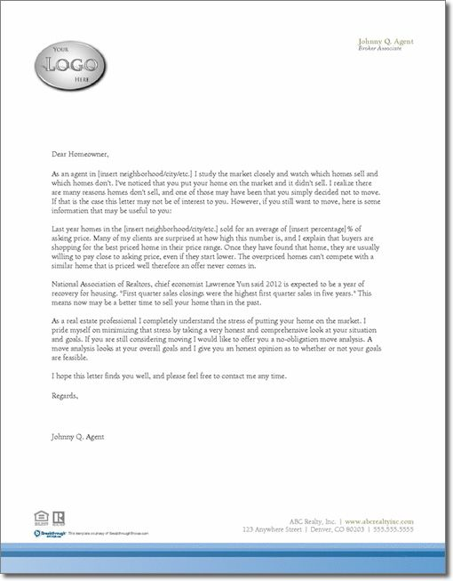 Expired Listing Letter Template