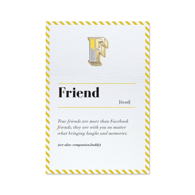 F Is For Friend Pin Badge And Card