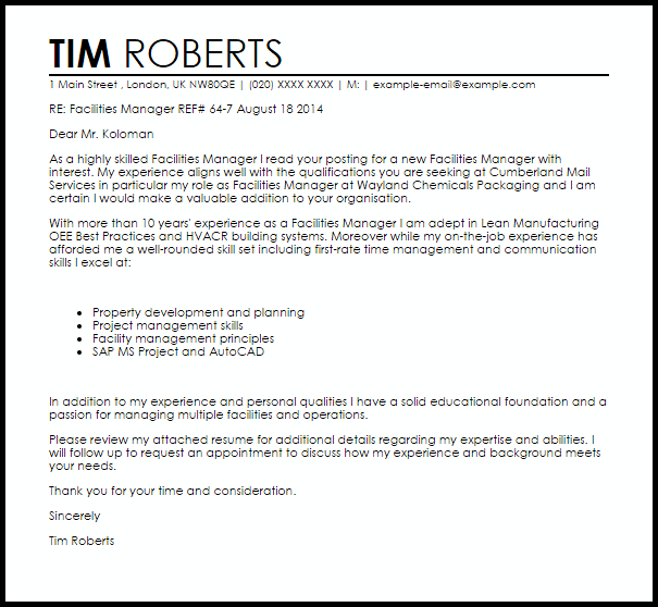 Facilities Manager Cover Letter Sample