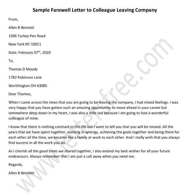Farewell Letter To Colleague Leaving Company
