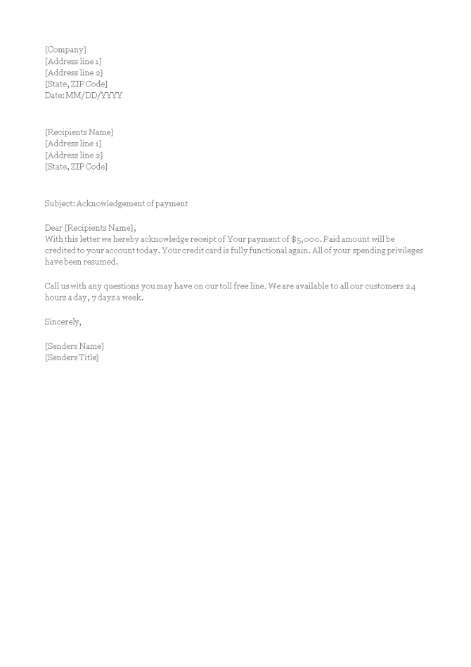 Final Payment Acknowledgement Letter