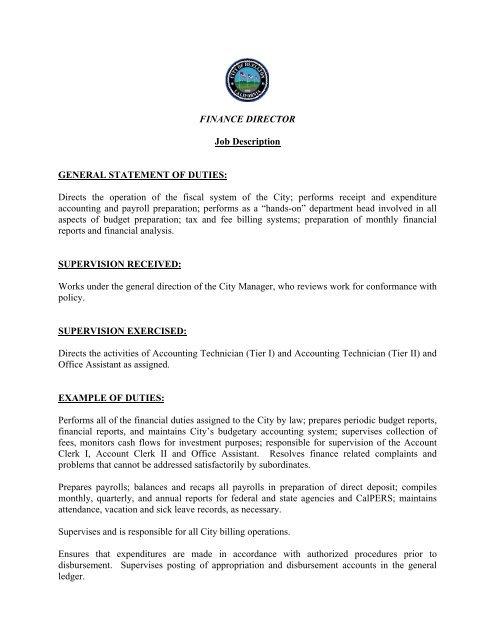 Finance Director Job Description General