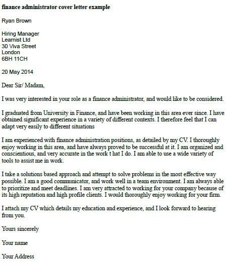 Finance Manager Cover Letter Example Free