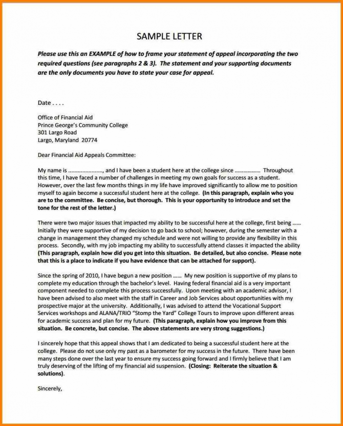 Financial Aid Appeal Letter Sample West Of Roanoke Within