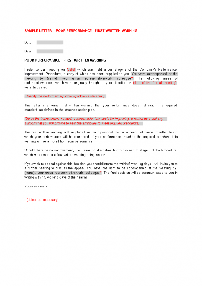 First Warning Letter For Poor Performance