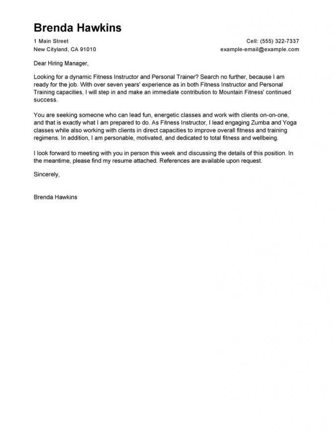 Fitness Instructor Cover Letter Free Example